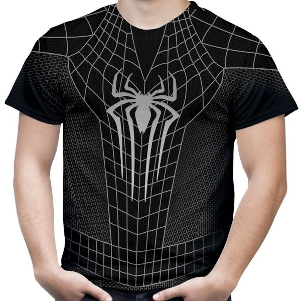 Camiseta Masculina Homem Aranha Traje Black Estampa Total