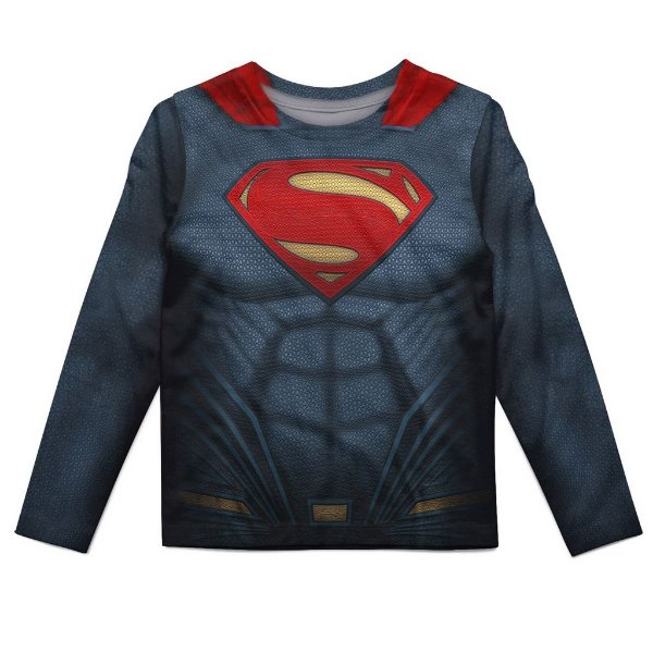 Camiseta Infantil Manga Longa Superman Md02
