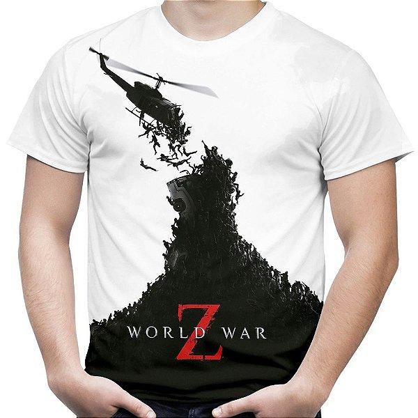 Camiseta Masculina Guerra Mundial Z Estampa Total