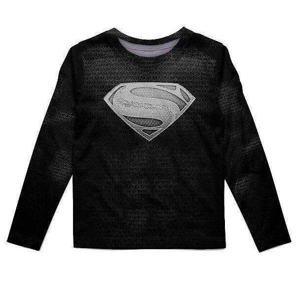 Camiseta Infantil Manga Longa Superman Black