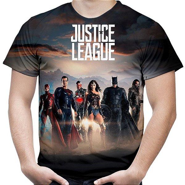 Camiseta Masculina Liga da Justiça Estampa Total Md01