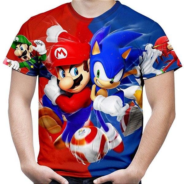 Camiseta Masculina Mario Bros e Sonic Estampa Total