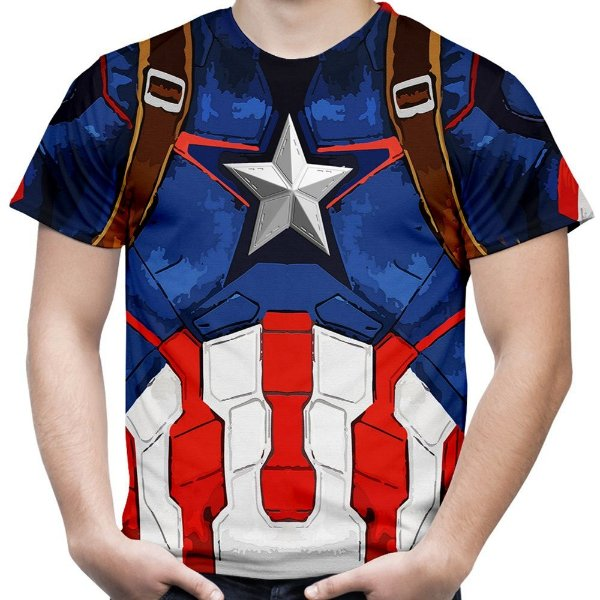 Camiseta Masculina Capitão América Traje Estampa Total Md02