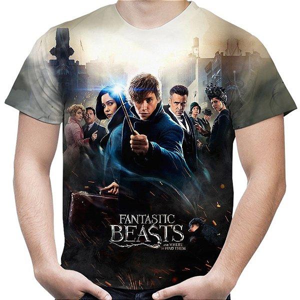Camiseta Masculina Animais Fantásticos e Onde Habitam Estampa Total
