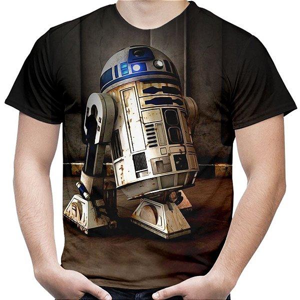 Camiseta Masculina R2 D2 Star Wars Estampa Total Md01