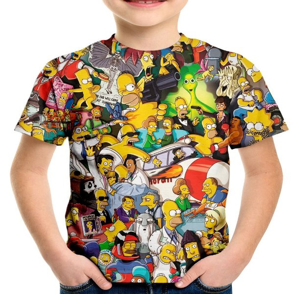 Camiseta Infantil Os Simpsons Estampa Digital Md02