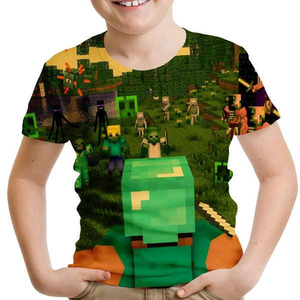 Camiseta Infantil Minecraft Estampa Total Md02
