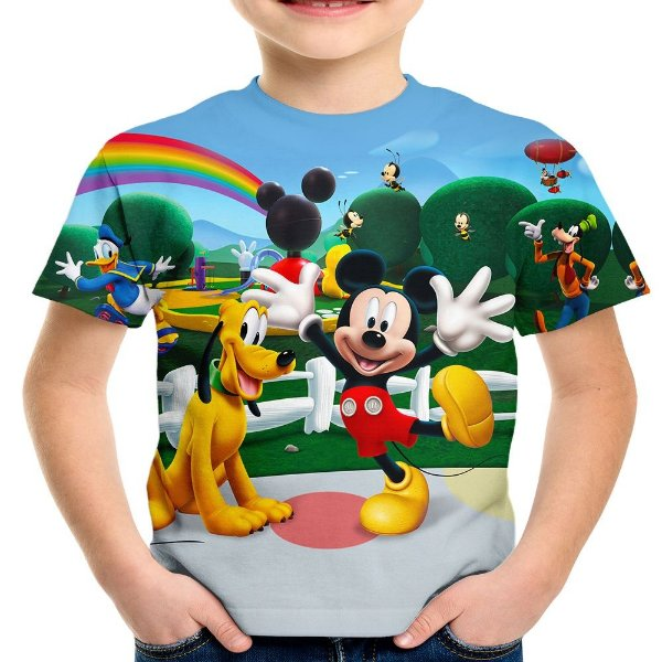 Camiseta Infantil Turma Do Mickey Mouse Estampa Digital