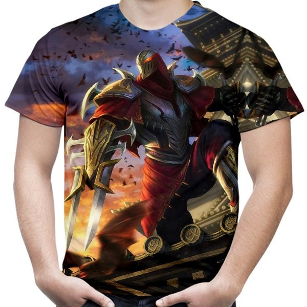 Camiseta Masculina Zed League of Legends Estampa Total Md02
