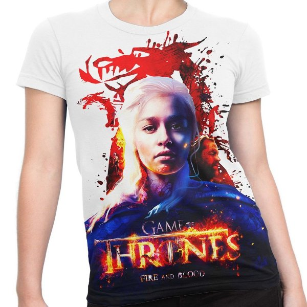 Baby look Feminina Game of Thrones Daenerys Targaryen Estampa Total