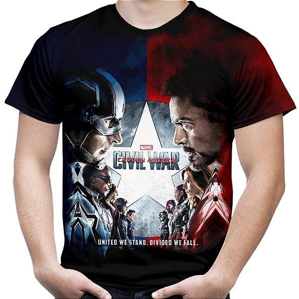 Camiseta Masculina Guerra Civil Marvel Civil War Estampa Total MD03