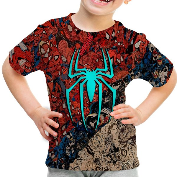 Camiseta Infantil Homem Aranha Mosaico Estampa Total