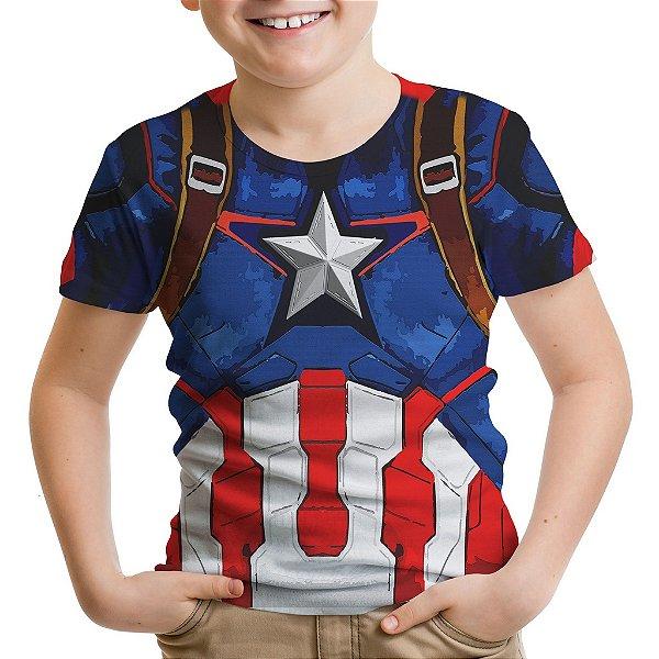 Camiseta Infantil Capitão América Traje Estampa Total Md02