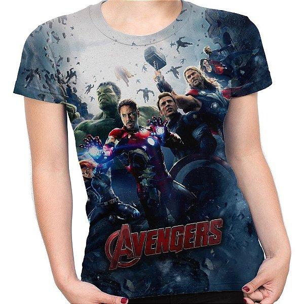 Baby look Feminina Os Vingadores Avengers Estampa Total Md01