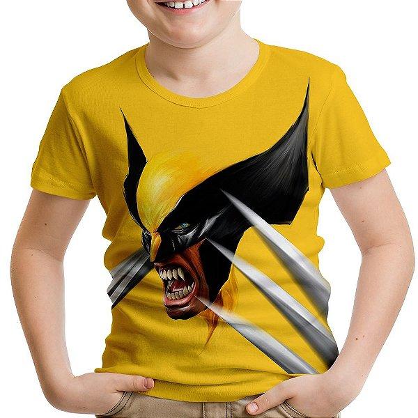 Camiseta Infantil Wolverine Face Estampa Total
