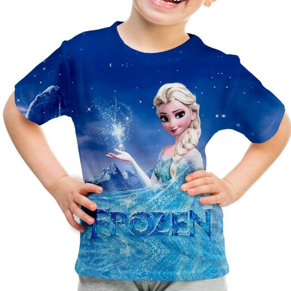 Camiseta Infantil Frozen Estampa Total