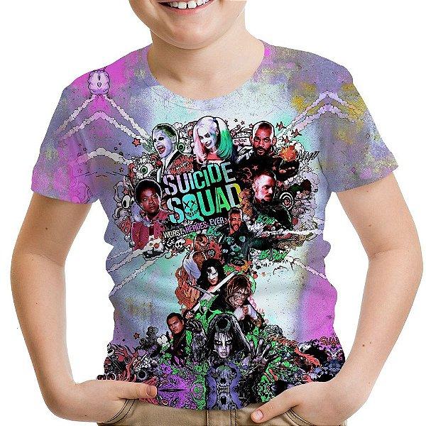 Camiseta Infantil Esquadrão Suicida Estampa Total Md02
