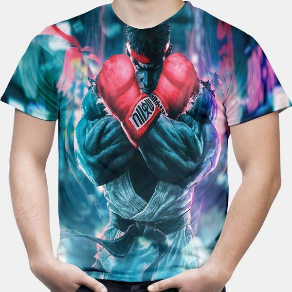 Camiseta Masculina Ryu Street Fighter Estampa Total
