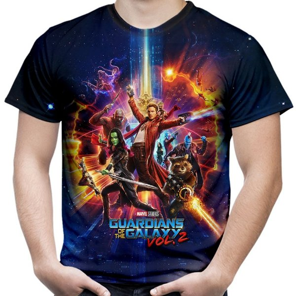 Camiseta Masculina Guardiões da Galáxia volume 2 Estampa Total MD04