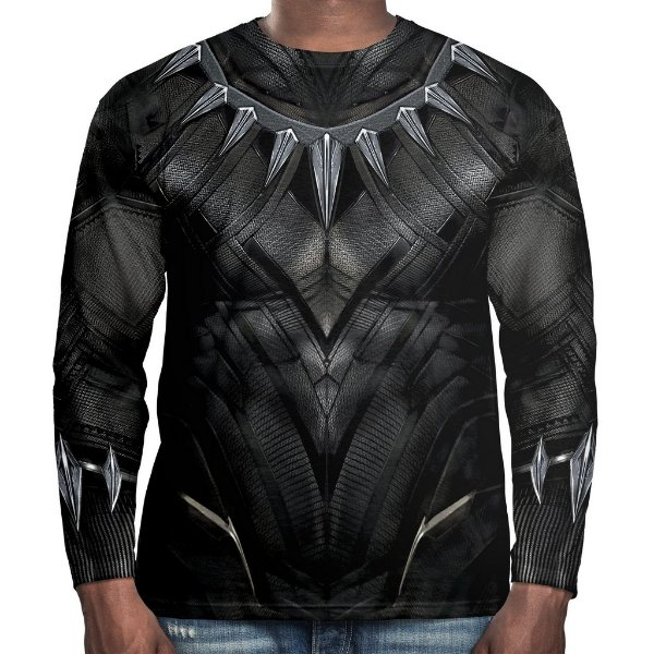 Camiseta Pantera Negra Manga Longa Unissex Traje