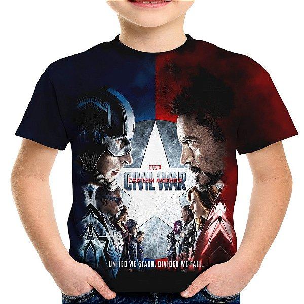 Camiseta Infantil Guerra Civil Marvel Civil War Estampa Total MD03
