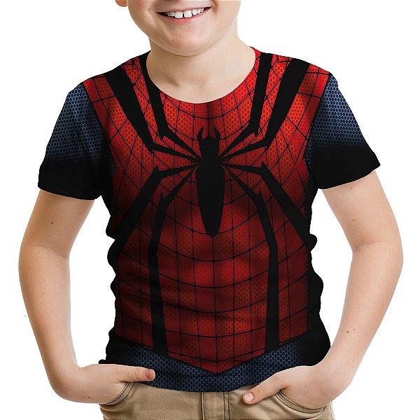 Camiseta Infantil Homem Aranha Traje Estampa Total Md02
