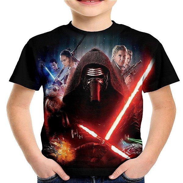 Camiseta Infantil Kylo Ren Star Wars Estampa Total Md03