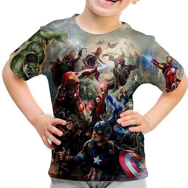 94ad59ae6 Camiseta Infantil Os Vingadores Avengers Estampa Total Md03 - Smart4Me