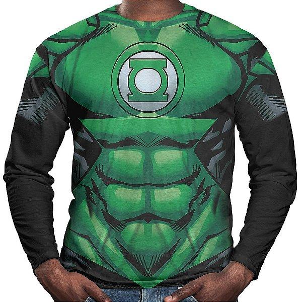 Camiseta Lanterna Verde Manga Longa Unissex Traje