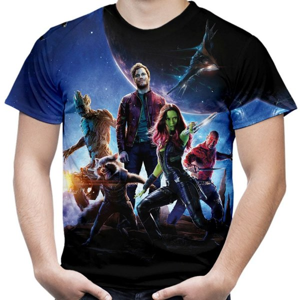 Camiseta Masculina Guardiões da Galáxia Estampa Total MD03