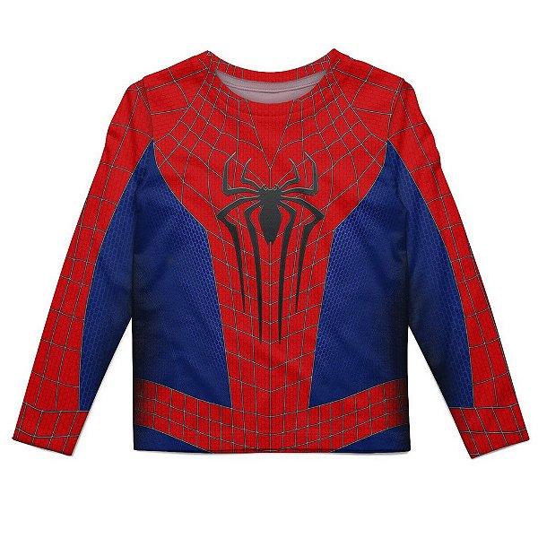 Camiseta Infantil Manga Longa Homem-Aranha