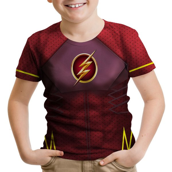 Camiseta Infantil Flash Traje Estampa Total