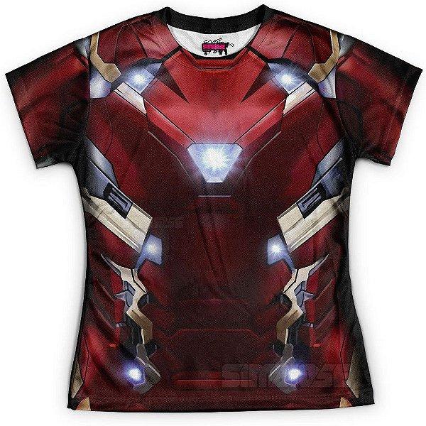 Baby Look Feminina Homem de Ferro Traje Iron Man Md02