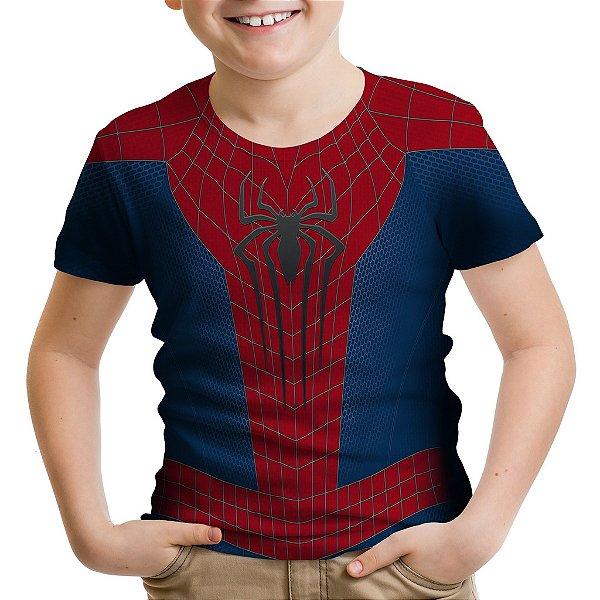 Camiseta Infantil Homem Aranha Traje Estampa Total MD01