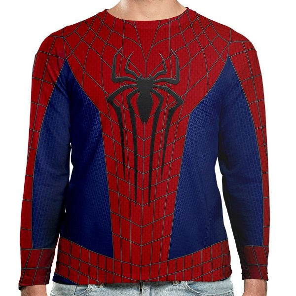 Camiseta Homem-Aranha Manga Longa Unissex Traje