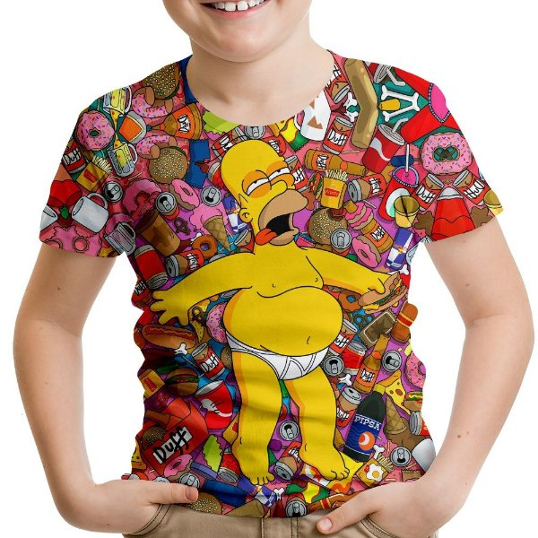 Camiseta Infantil Os Simpsons Homer Estampa Digital Md01