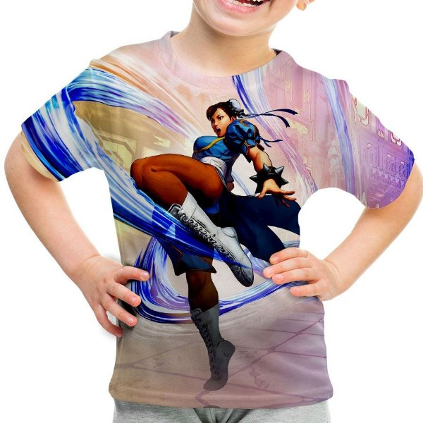 Camiseta Infantil Chun-Li Street Fighter Estampa Total