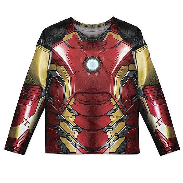 Camiseta Infantil Manga Longa Homem de Ferro Iron Man Md03