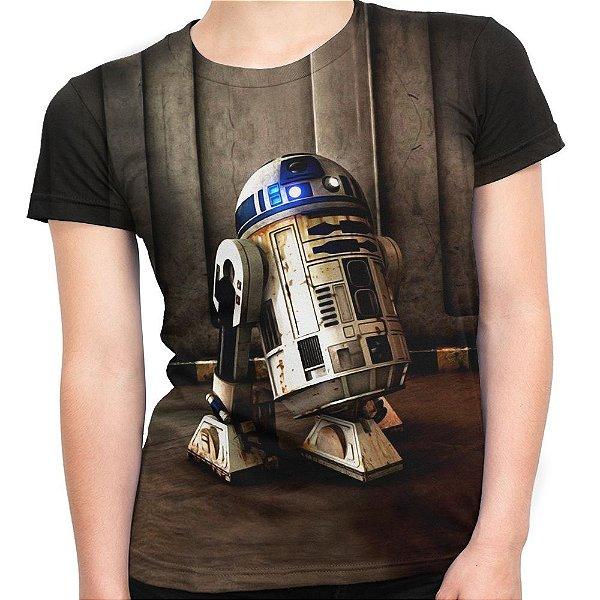Baby look Feminina R2 D2 Star Wars Estampa Total Md01