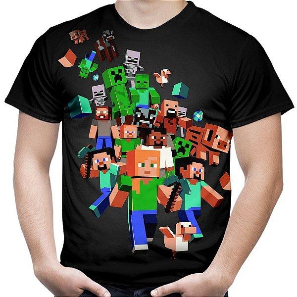 Camiseta Masculina Minecraft Estampa Total Md04