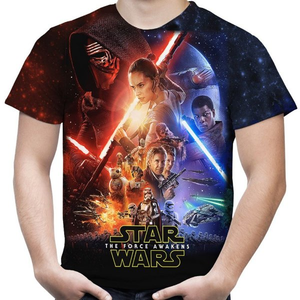 Camiseta Masculina Star Wars Episode VII Estampa Total Md02
