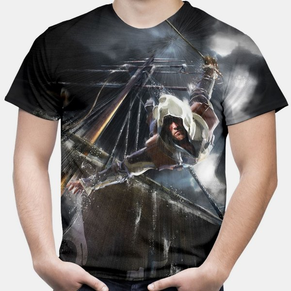 Camiseta Masculina Assassin's Creed Black Flag Estampa Total