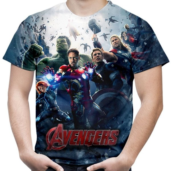Camiseta Masculina Os Vingadores Avengers Estampa Total Md01
