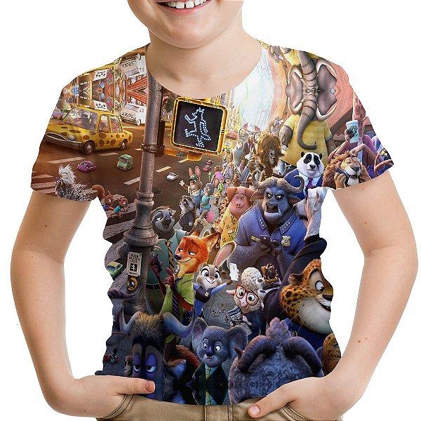 Camiseta Infantil Zootopia Estampa Total