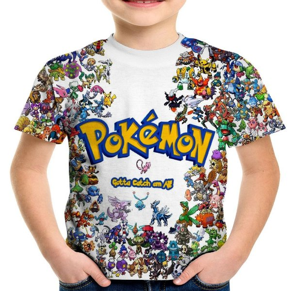 Camiseta Infantil Pokemon Estampa Total MD01