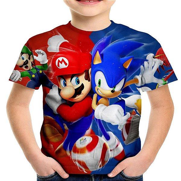 Camiseta Infantil Mario Bros e Sonic Estampa Total