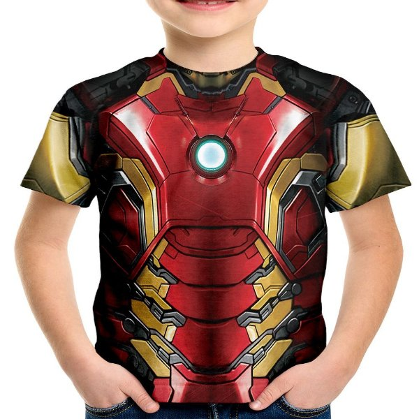 Camiseta Infantil Homem De Ferro Iron Man Traje Md03