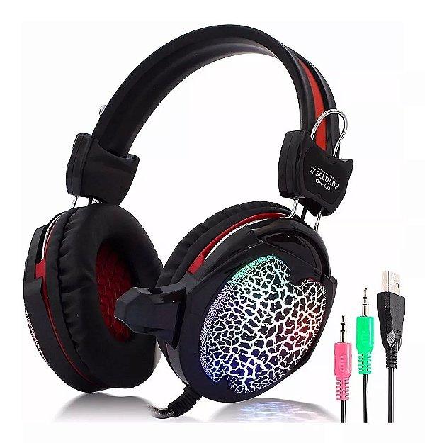 Headset Gamer com Microfone e Led Colorido GH-X10