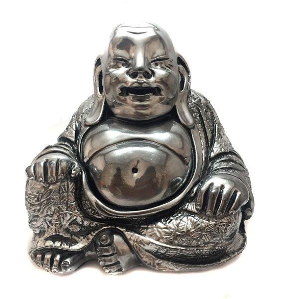 Buda Chines Sorridente Prateado em Gesso