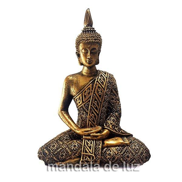 Estátua de Buda Hindu Resina Dourado 21cm